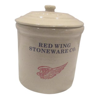 Retired Modern Red Wing Pottery 1/2 Gallon Lidded Cookie Jar For Sale