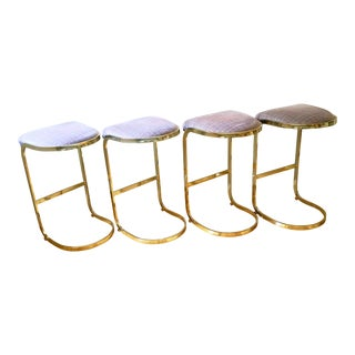 1980s Vintage Brass Cantilever Bar Stools- Set of 4 For Sale