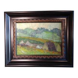 Mid 20th Century Village Landscape Oil Painting by Marie Cofalka, Framed For Sale
