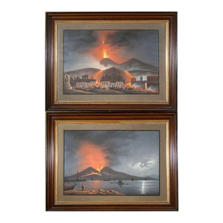 A Pair of Gouaches of Mount Vesuviuss For Sale