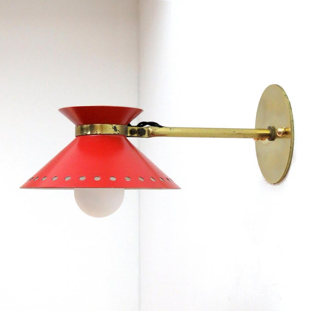 Maison Arlus Pair of Red Arlus Wall Lights, 1950s For Sale - Image 4 of 11