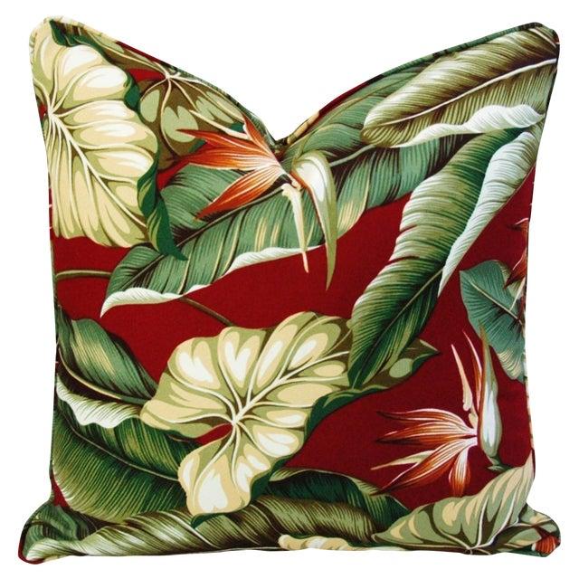 Custom Tailored Bird of Paradise Barkcloth Feather/Down Pillow - Image 1 of 5