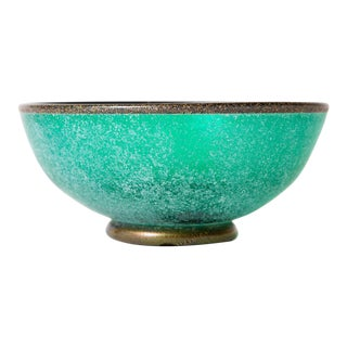 Italian Mario Poggi Sea Green Teal With Gold Aventurine Scavo Glass Bowl For Sale