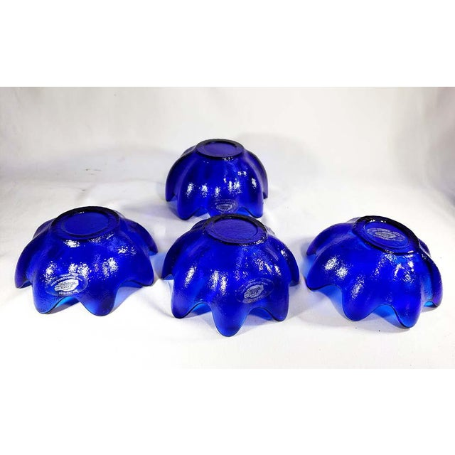 Blenko Blenko Handcraft Cobalt Blue Glass Molded Floriform Bowls - Set of 4 For Sale - Image 4 of 5