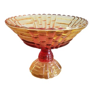 Vintage Amber Glass Candy Dish For Sale
