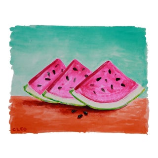 Pop Art Still Life Watermelon Fruit Painting by Cleo Plowden For Sale