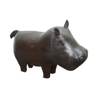 Hand Crafted English Leather Hippo Footstool For Sale