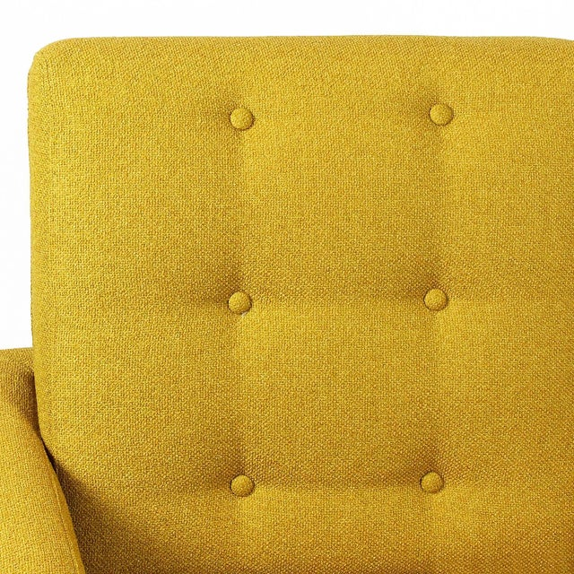 1960s Pair of Padded Armchairs, Yellow Upholstery, Steel, Brass - Italy For Sale - Image 10 of 11