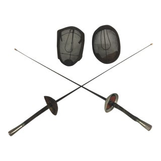 1950s French Fencing Set & Hat Stand For Sale