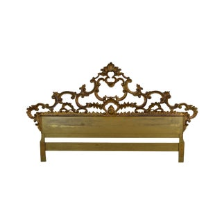 Rococo Style 1950's Vintage Italian Carved Giltwood King Size Headboard For Sale