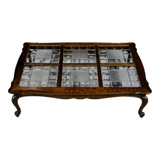 Lovely French Provincial Coffee Table With Leaded Beveled Glass