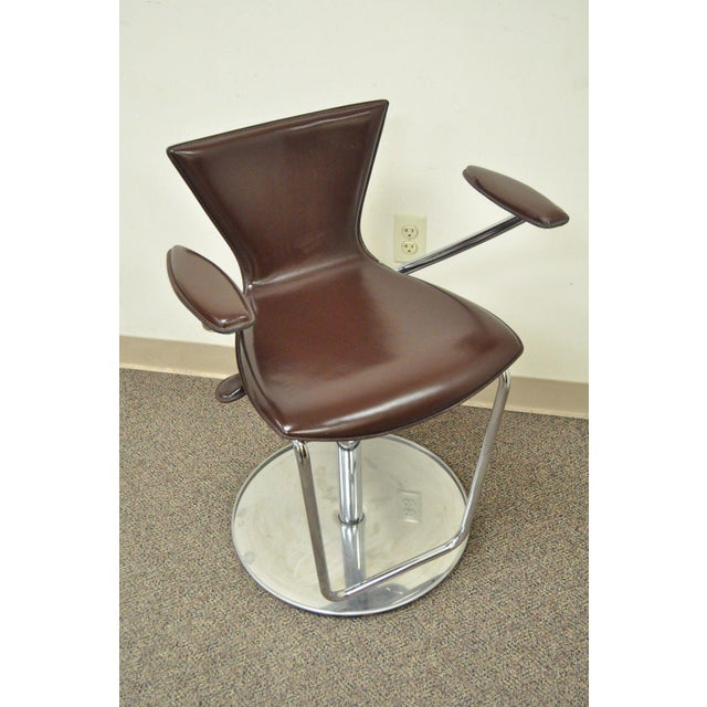 """Pre-Owned Contemporary Modern Brown Leather and Chrome Bar Stool by Serico Swivel Function, Height Adjustable by 9.5"""",..."""