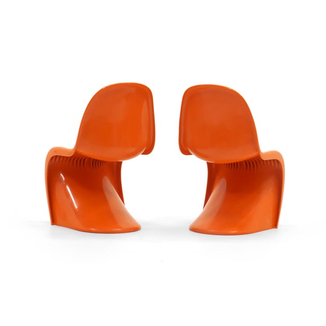 Set of Seven Orange Verner Panton S Chairs, Early Herman Miller Production For Sale In Kansas City - Image 6 of 10