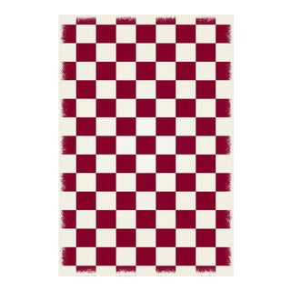 Red & White English Checkered Rug - 4' X 6'