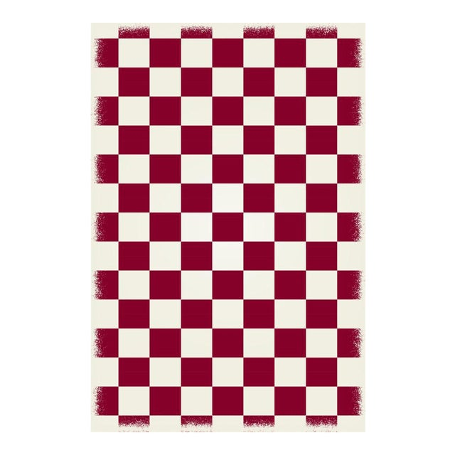 Red & White English Checkered Rug - 4' X 6' For Sale