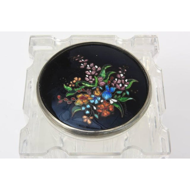 Signed Enameled Foiled Cloisonné and Lucite Vessel/Box For Sale - Image 9 of 11