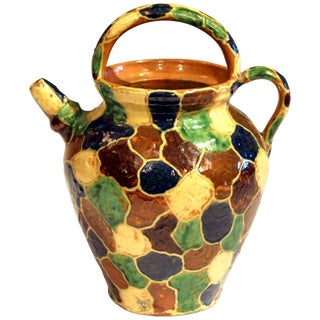 Antique French Provence Country Pottery Irese Signed Vase Confit Pot Jug For Sale