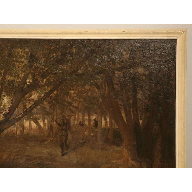 "Amazing 9'8"" Original Antique French Panoramic Oil Painting on Linen - Image 8 of 10"