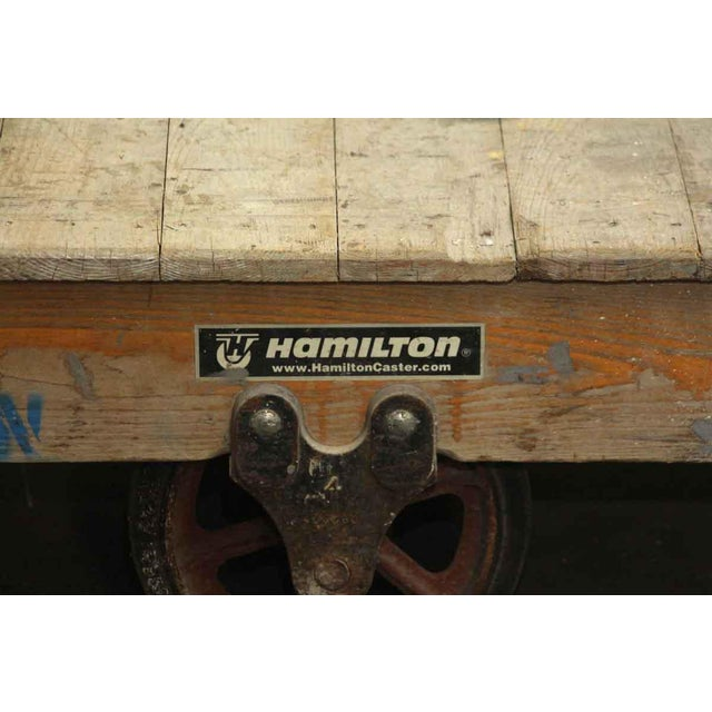 Vintage Wooden Factory Cart For Sale - Image 4 of 5