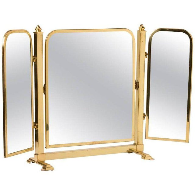 French Tri-Panel Brass Standing Vanity Mirror - Image 3 of 3