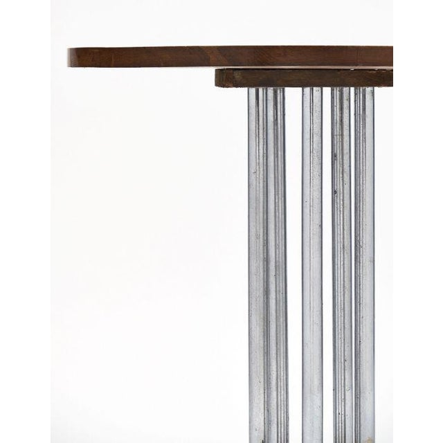 French Architectural Oak on Chromed Steel Tubes Gueridon Table For Sale In Austin - Image 6 of 10