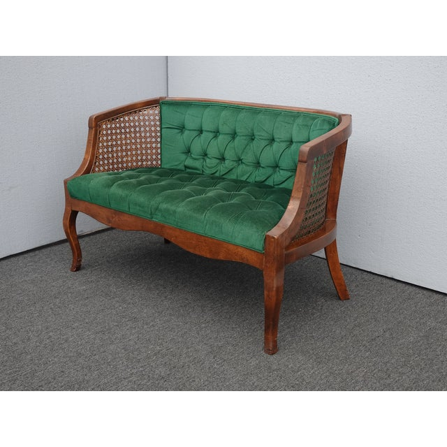 Vintage French Country Tufted Green Velvet Settee Loveseat w Cane Gorgeous Settee in Great Vintage Condition. Solid and...