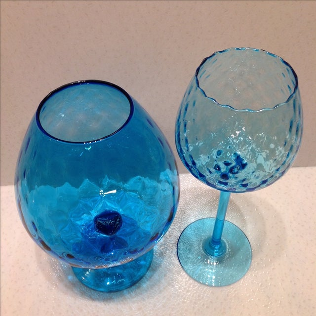 Blue Optic Glass Murano Vases - A Pair - Image 4 of 11