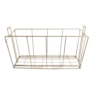 Vintage Wire Folding Laundry Basket For Sale