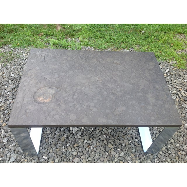 Vintage Fossil Covered Cast Stone Top Coffee Table - Image 3 of 9