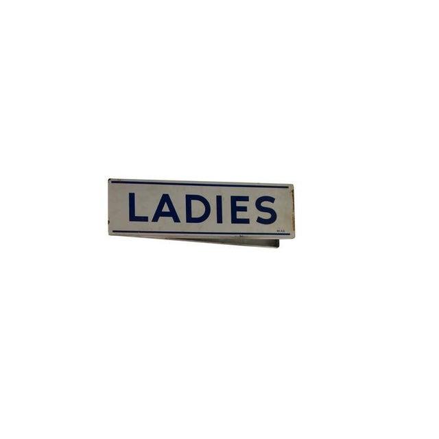 Metal Double Sided Porcelain Enamel Ladies Restroom Sign For Sale - Image 7 of 8
