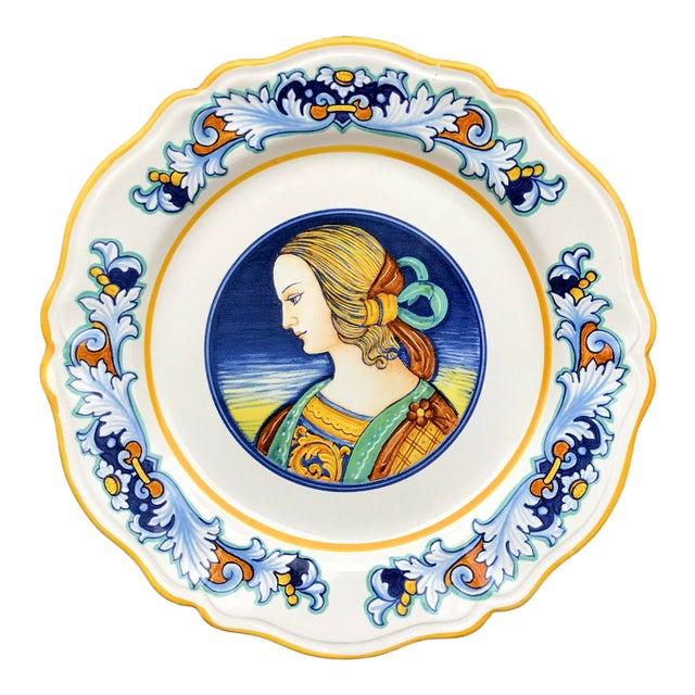 Deruta Italian Renaissance Woman Ceramic Serving Plate For Sale