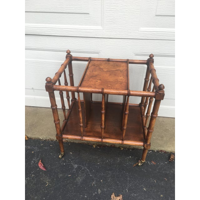 Brown Vintage Burl Wood Bamboo Side Table Magazine Rack For Sale - Image 8 of 11