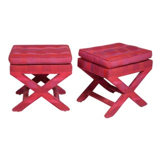 Billy Baldwin Larsen Upholstered X-Benches - a Pair For Sale