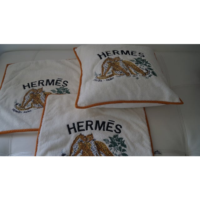 Textile Hermes Cushion Covers With Tiger Embroidery - Set of 3 For Sale - Image 7 of 12