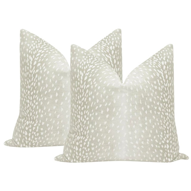 Cashmere Antelope Linen Print Pillows - a Pair For Sale