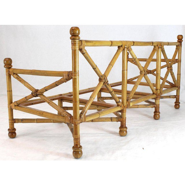 Heavy Gage Thick Bamboo and Leather X-Base Sofa Frame For Sale - Image 11 of 12