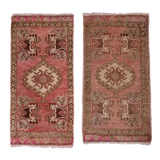 "Distressed Turkish Small Rug - a Pair 1'7"" X 2'11"" For Sale"