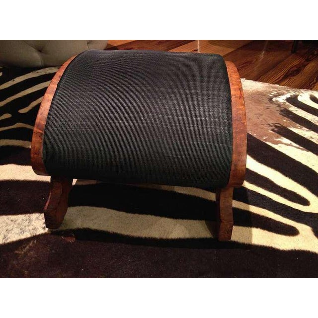 Traditional 19th Century Biedermeier Burr Walnut Footstool Upholstered in Horsehair For Sale - Image 3 of 5