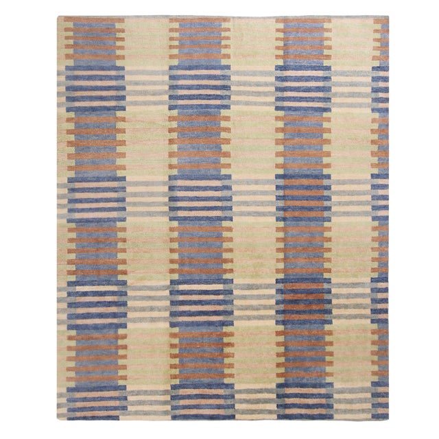 Hand Knotted Scandinavian Design Inspired Geometric Blue and Pink Wool Rug - 8′1″ × 9′11″ For Sale