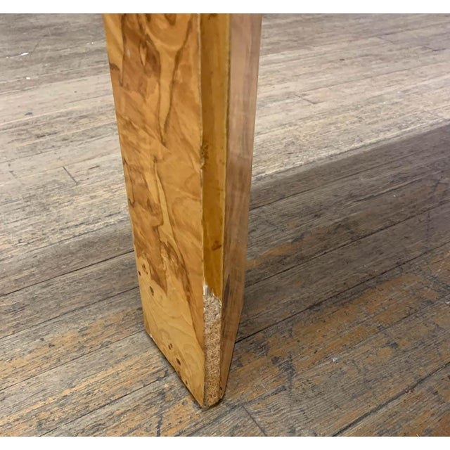 Beige Mid Century Burl Wood Baughman Parsons Console Table For Sale - Image 8 of 9