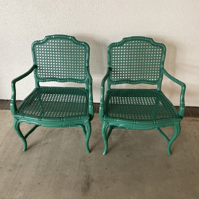 Vintage Green Lacquered Chairs - a Pair For Sale - Image 11 of 11