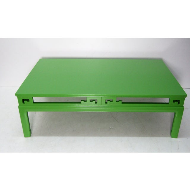 1970s 1970s Chinoiserie Large New Green Lacquer Coffee Table For Sale - Image 5 of 6