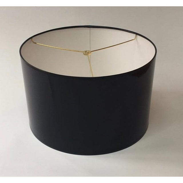 Not Yet Made - Made To Order Modern High Gloss Black Drum Lampshade For Sale - Image 5 of 5