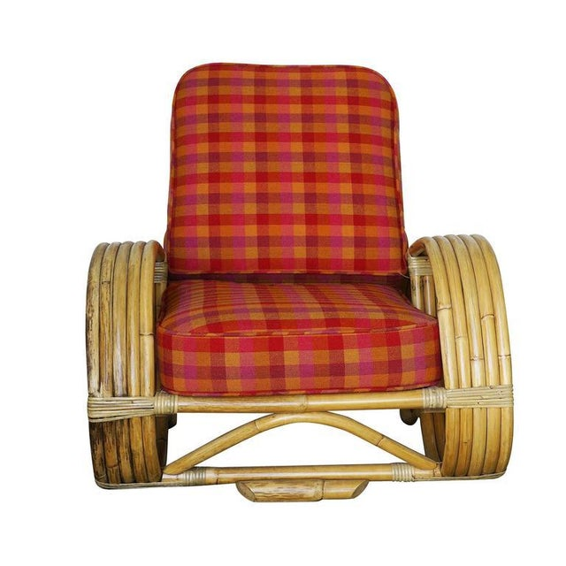"Red Restored Rare Five-Strand ""Reverse Pretzel"" Rattan Living Room Set For Sale - Image 8 of 9"
