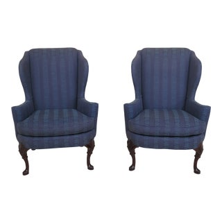 1990s Vintage Sherrill Queen Anne Mahogany Wing Back Easy Chairs- A Pair For Sale