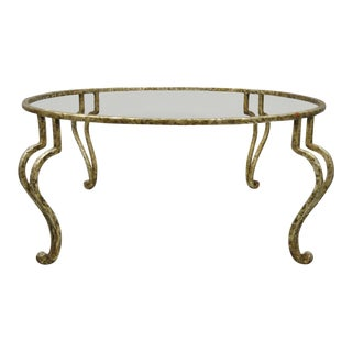 Vintage Italian Hollywood Regency Style Scrolling Wrought Iron Cabriole Coffee Table For Sale