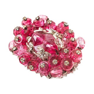 Miriam Haskell Ruby Crystal Brooch For Sale