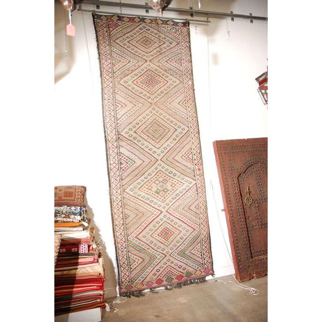 Cotton Vintage Zaiane Moroccan Tribal Runner Rug, Circa 1960 For Sale - Image 7 of 7