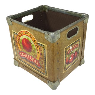 Vintage Maine Farm Grocers Apple Crate Circa 1930s For Sale