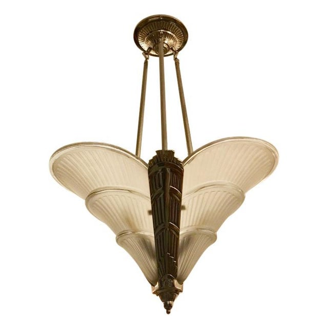 French Art Deco Ribbed Chandelier For Sale - Image 11 of 11